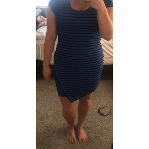 Blue and black stripped bodycon dress